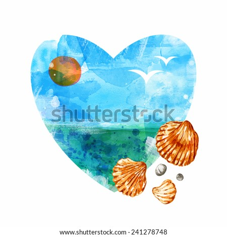 Sea heart. Watercolor sea vector background. Blue background. - stock vector