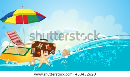 Sea holiday background with a suitcase, umbrella and chaise longue - stock vector
