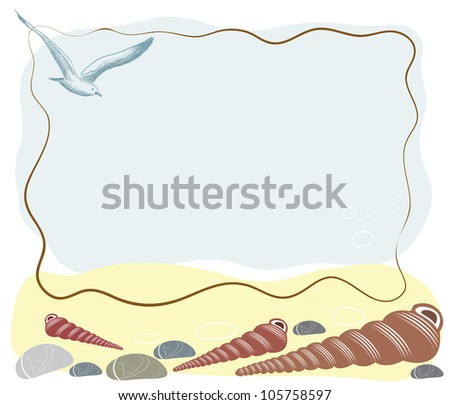 Sea holidays frame with shells and sea gull