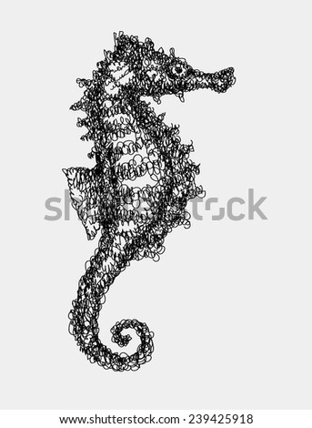 Sea horse abstract doodle style. Sea animal black drawing vector. Good use for illustration, symbol, mascot, icon, or any design you want. Easy to use, edit, or change color. - stock vector