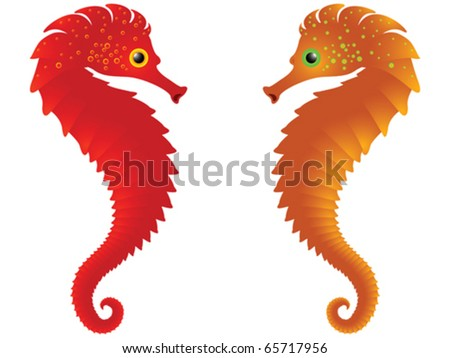 sea horses against white background, abstract vector art illustration - stock vector