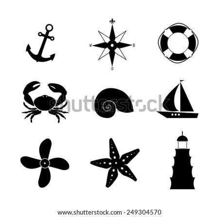 Sea icon set anchor, wind rose, lifebuoy, crab, shell, ship, propeller, starfish, lighthouse - stock vector