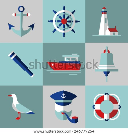 Sea icons in flat style. Set of flat icons in nautical style.  - stock vector