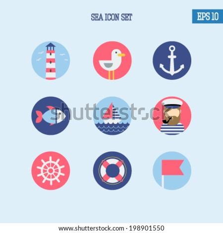 Sea icons set, flat design - stock vector