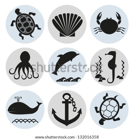 Sea inhabitants. Vector. EPS-10 (non transparent elements,non gradient) - stock vector