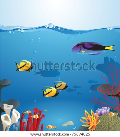 Sea landscape illustrating underwater life - stock vector