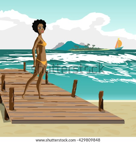 Sea landscape summer beach, old wooden pier, afro black woman dressed in yellow swimsuit. Afro black woman is standing on wooden pier in summer vacation. Vector flat cartoon illustration.  - stock vector