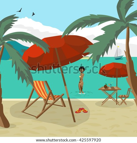 Sea landscape summer beach, palm tree, sun umbrellas, beach beds. Black afro woman in yellow bikini out of the water onto the beach. Umbrella, sun, table, cocktail, coconut. Vector flat illustration - stock vector