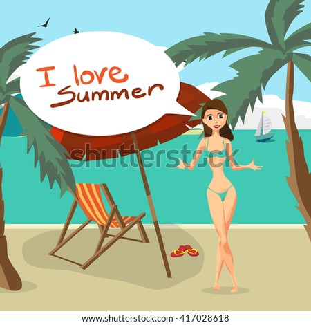 Sea landscape summer beach, palm tree, sun umbrellas, beach beds. Woman in swimsuit on background seascape with island and yacht. I love summer speech baloon. Vector flat illustration