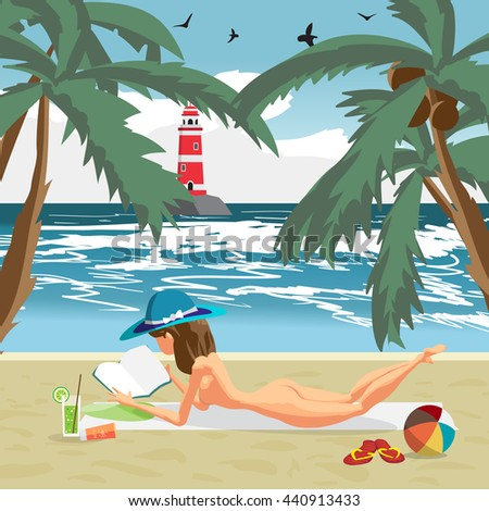Sea landscape summer beach, palms and a private beach. Woman in a blue hat sunbathing naked. Vector cartoon flat illustration