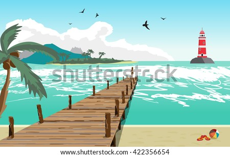 Sea landscape summer beach, silhouette of a woman on old wooden pier, lighthouse on the island in the distance. View with palm trees on a beach, wooden pier. Vector flat illustration - stock vector