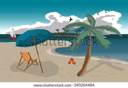 Sea landscape summer beach, sun umbrellas, beach beds. Umbrellas and deskchair on a beach in summer evening vacation. Evening summer background on beach. Vector flat illustration - stock vector