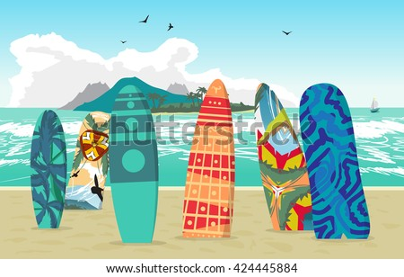 Sea landscape summer beach, surfboards stuck in the sand. Beach of the sea to the island in the distance in summer vacation. Surfboards set. Surfboards collection. Vector flat illustration - stock vector