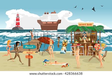 Sea landscape summer beach. Vector cartoon flat illustration. Beach bar with bartender, a woman in a bikini to swim and sunbathe, play sports. Cruise ship and lighthouse - stock vector