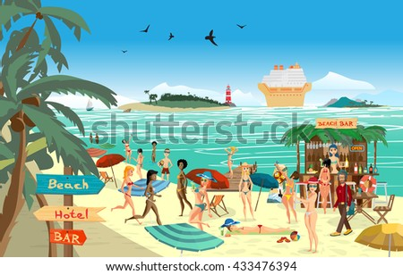 Sea landscape summer beach. Vector cartoon flat illustration. Beach bar with bartender, a woman in a bikini to swim and sunbathe, play sports. Cruise ship, island and lighthouse - stock vector