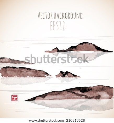 Sea landscape with mountains, hand-drawn with ink in traditional Japanese style sumi-e. Vector illustration.  - stock vector