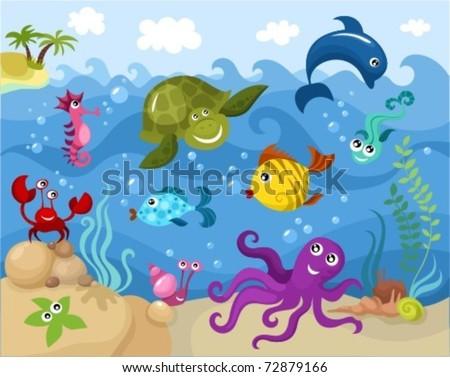 sea life - stock vector