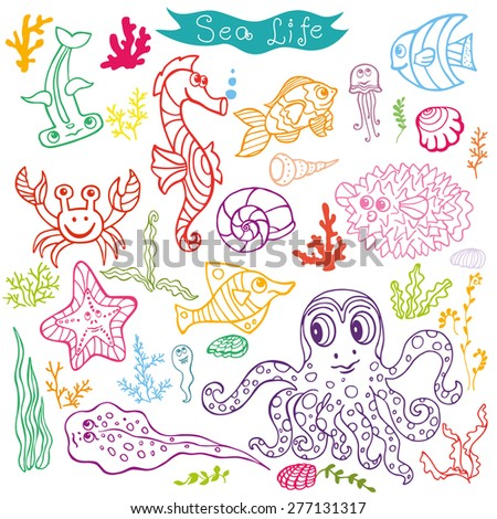 Sea life animals set: fish,  octopus, crab, seahorse with coral,seaweed,shell. Funny cartoon doodle underwater world. Baby hand drawing Vector . Summer travel, tropical linear composition .