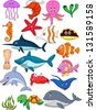 Sea life cartoon set - stock vector