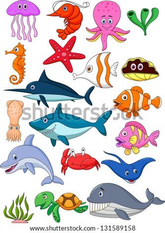 Sea life cartoon set - stock vector
