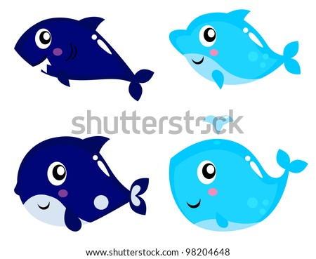 Sea life cartoon set isolated on white - stock vector