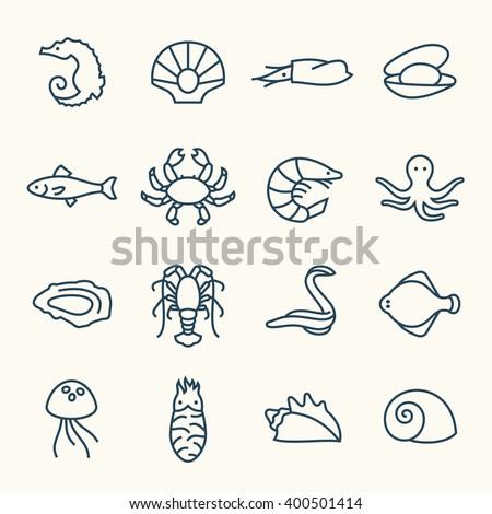 Sea life line icons - stock vector