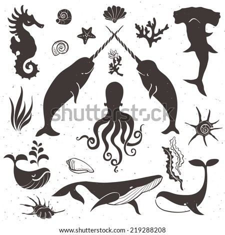 Sea life, marine animals. Vintage hand drawn elements in nautical style.Vol.1 Vector illustrations. - stock vector