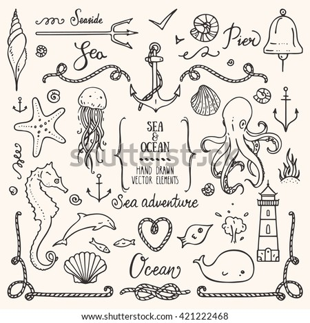 Sea life, ocean trip, summer marine cruise, seafood, pier restaurant design elements. Collection of hand drawn illustration: lighthouse, octopus, anchor, jellyfish, cordage frame. Isolated vector set. - stock vector