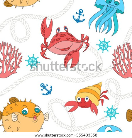 Sea life pattern. Seamless cartoon vector background