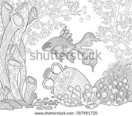 sea life scuba diving illustration page for adult coloring book the seabed with fish
