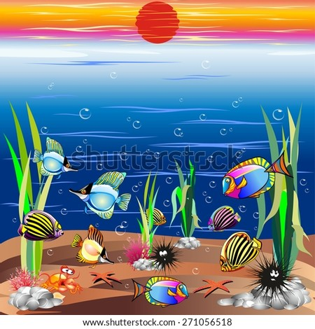 Sea life Underwater Colorful Fishes - stock vector