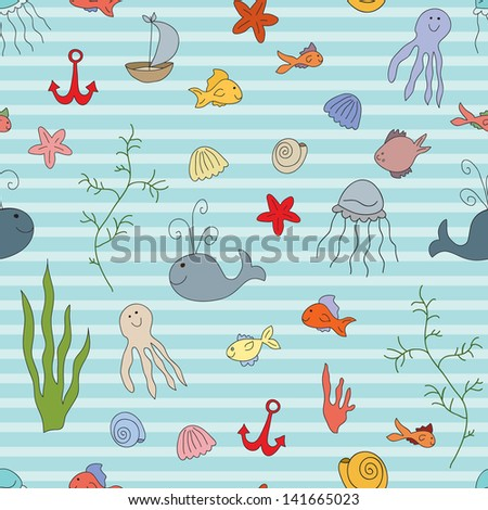 Sea life vector color seamless pattern