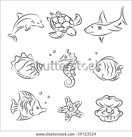 Sea Life Vector Sketch Set - stock vector