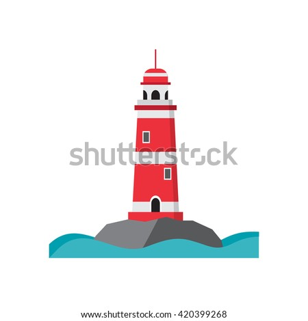 Sea lighthouse on a rocky island. Flat isolated vector illustration. Light house red with white stripes, with a high round roof. Searchlight towers and beach and summer vacation