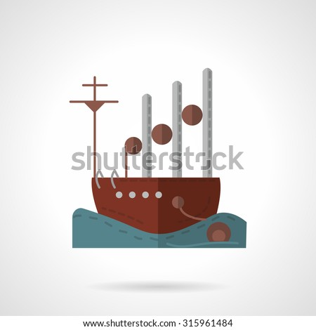 Sea military vessel. Flat design vector icon. Naval industry symbol. Elements of web design for business and website. - stock vector