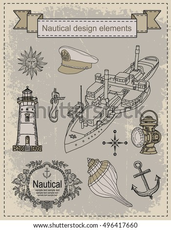 Sea. Nautical. Design elements