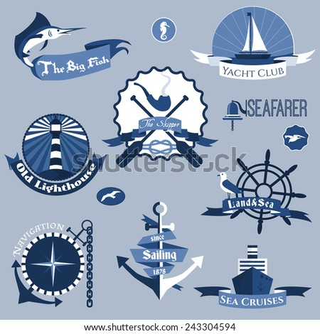 Sea nautical navigation skipper blue labels set isolated vector illustration