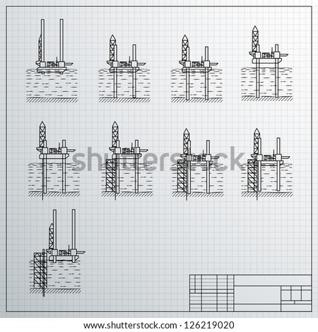 Sea Oil Rig Drilling Platform on Sketch. Vector illustration, contains transparencies. - stock vector