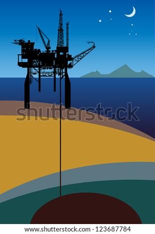 Sea Oil Rig Drilling Platform, vector illustration - stock vector