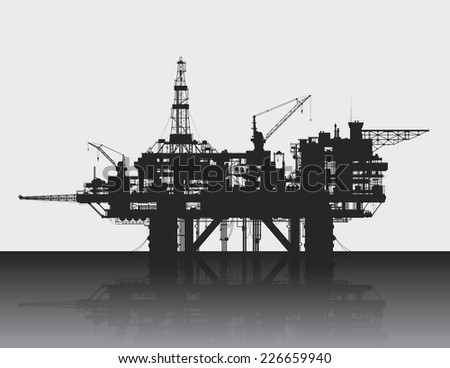 Sea oil rig. Oil platform in the deep sea. Detailed vector illustration.  - stock vector