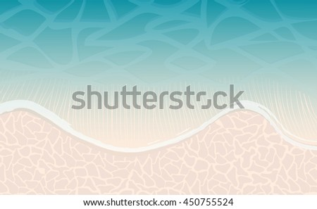 Sea or ocean beach with wave and sand as background for design. Vector Illustration