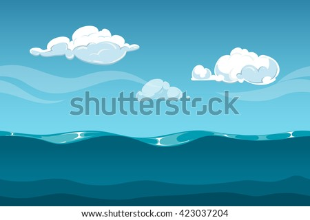 Sea or ocean cartoon landscape with sky and clouds. Seamless water waves background for computer game design. Landscape with water waves and cloud vector illustration - stock vector