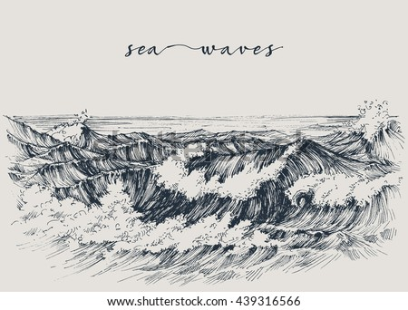 Sea Or Ocean Waves Drawing View Breaking On The Beach