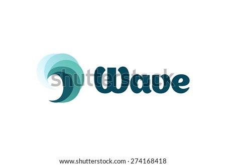 Sea or river ninth wave. Storm and tempest. Harmonious vector logo. The water of the ocean.  - stock vector