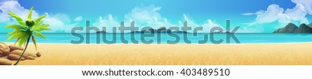 Sea panorama. Tropical beach. Vector background - stock vector