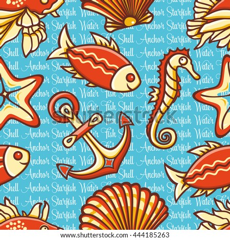 Sea pattern. Seamless. Nautical ornament. Shell. Fish. Water. Anchor. Marine background.  Maritime icon. Vector illustration