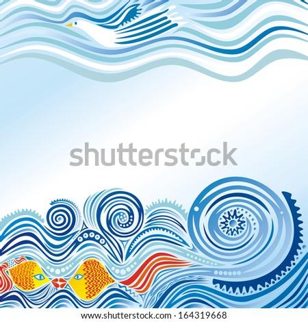 Sea pattern waves sky bird goldfishes nature background vector illustration - stock vector