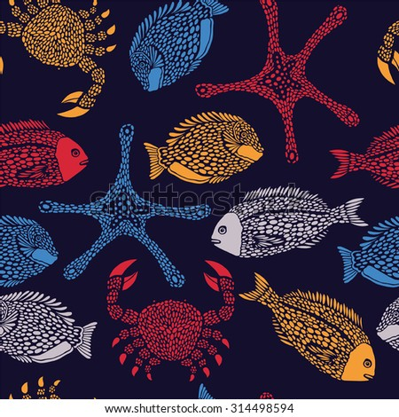 Sea pattern with fish and marine animals.