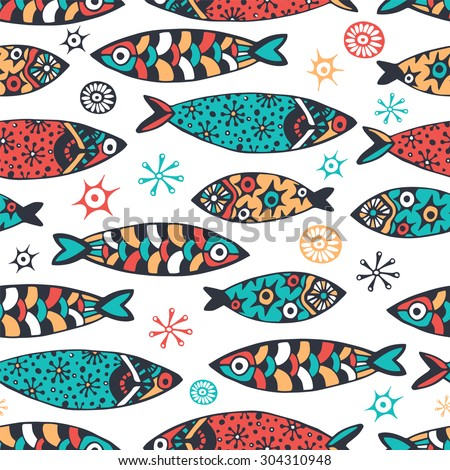 Sea pattern with small fish. Kids doodle style. - stock vector