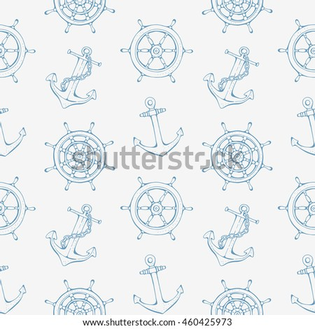 Sea pattern with steering ship wheel and anchor, vector illustration, nautical background